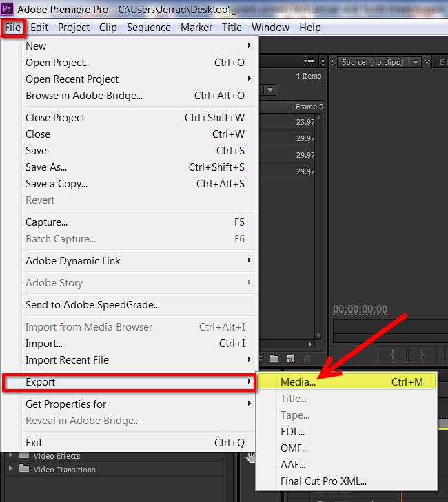 Premiere Pro CS6 - How to get to export menu