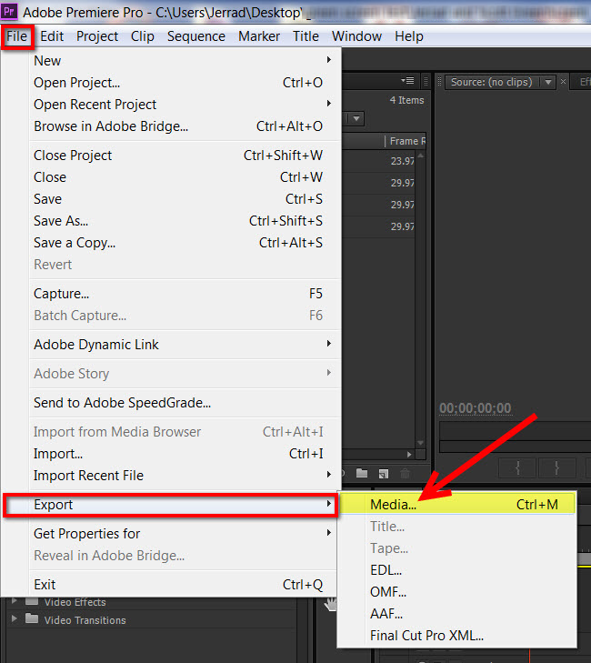 Export mp4 video for youtube vimeo adobe premiere pro premiere pro cs6 how to get to export menu ccuart Images