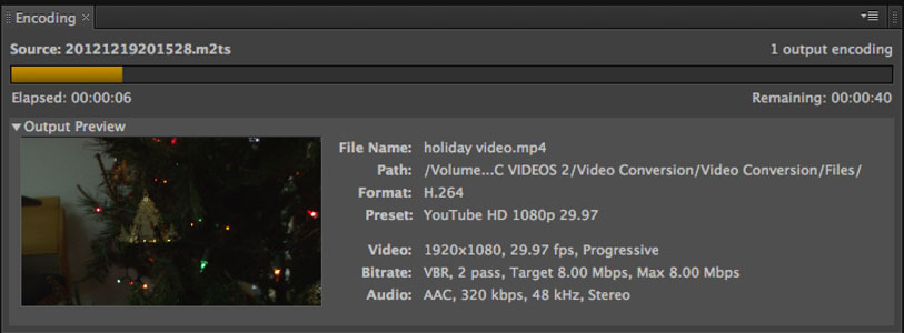 Watch your video while the progress bar moves across the screen.