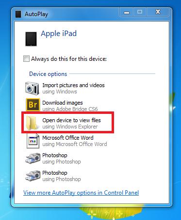 AutoPlay iPad Photos