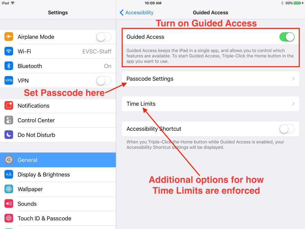 Guided Access settings