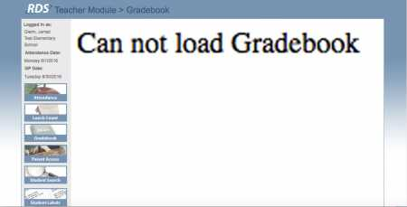 RDS cannot load gradebook image