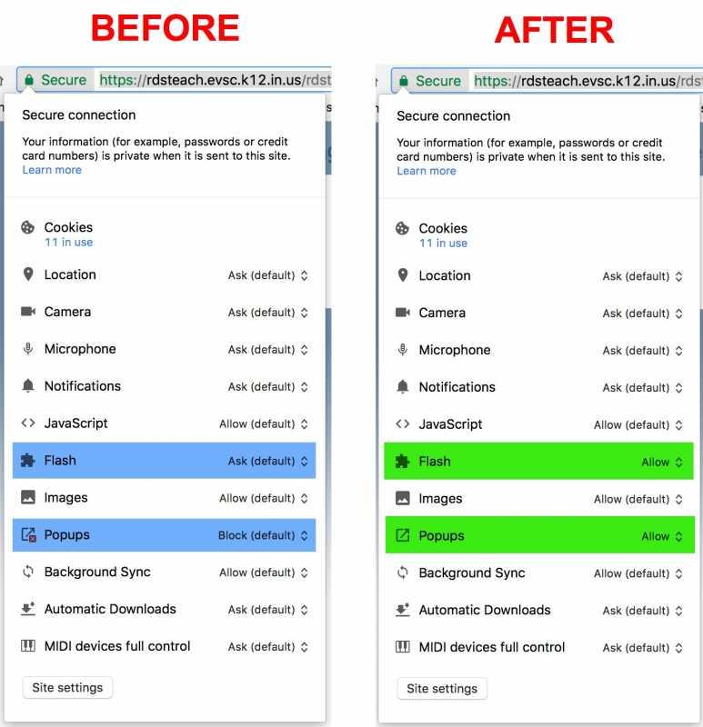 Chrome Quick Site Settings for RDS Gradebook Website